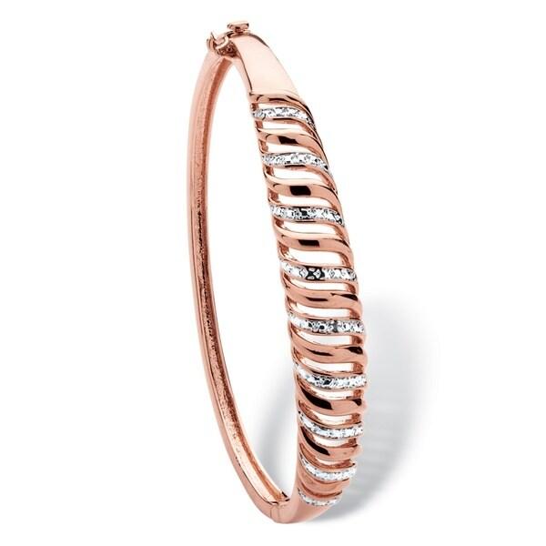 PalmBeach Rose Gold-plated Diamond Accent Open Row Bangle Bracelet