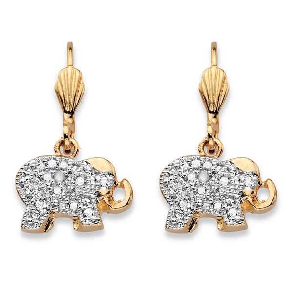 Palm Beach Jewelry 18k Gold-plated Diamond Accent Two-tone Lever Back Elephant Drop Earrings