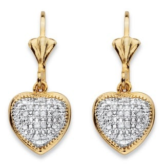 PalmBeach 18k Two-tone Gold-Plated 1/10 TCW Diamond Heart Charm Lever-back Earrings