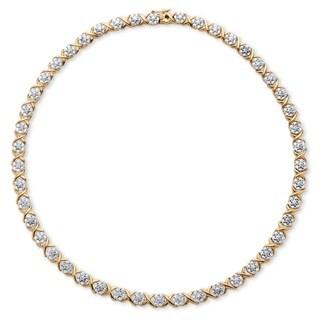 Palm Beach Jewelry 18k Yellow Goldplated 0.25 TCW Diamond 'X and O' Necklace