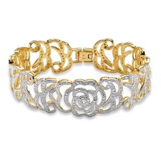 PalmBeach 18k Yellow Goldplated Diamond Accent Floral Motif 7.25-inch Interlocking-link Bracelet