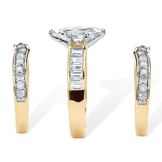 PalmBeach 3.86 TCW Marquise-Cut Cubic Zirconia Three-Piece Bridal Set 14k Gold-Plated Glam CZ