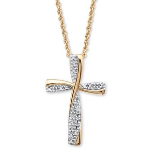 Palm Beach Jewelry 18k Two-tone Gold Over Sterling Silver Diamond Accent 18-inch Cross Pendant Necklace