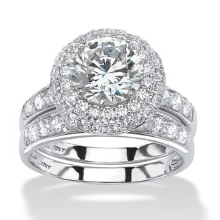 PalmBeach 3.31 TCW Round Cubic Zirconia Two-Piece Halo Bridal Ring Set in 10k White Gold Classic CZ