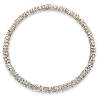 Yellow Gold-Plated Round Genuine Diamond Collar Necklace (1 cttw) (IJ Color, I2-I3 Clarity)