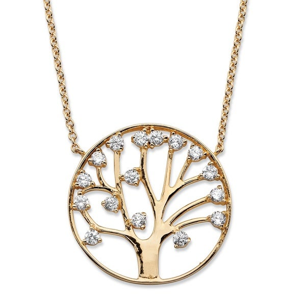 PalmBeach 1.15 TCW Round Cubic Zirconia Tree of Life Pendant Necklace 14k Gold-Plated Classic CZ