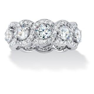 PalmBeach Platinum over Silver 4 5/8ct TGW Cubic Zirconia Crossover Eternity Ring