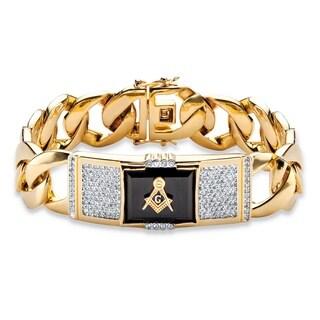 "PalmBeach Men's Emerald-Cut Genuine Black Onyx and CZ 14k Gold-Plated Masonic Curb-Link Bracelet 8"""""