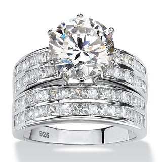 PalmBeach 5.84 TCW Round Cubic Zirconia Two-Piece Channel Bridal Ring Set in Platinum over Sterling Silver Classic CZ