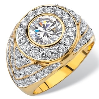 PalmBeach Men's 4.55 TCW Round Cubic Zirconia Geometric Cluster Ring 14k Gold-Plated