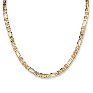 PalmBeach Men's Figaro Link Necklace in 18k Gold over Sterling Silver 22""""