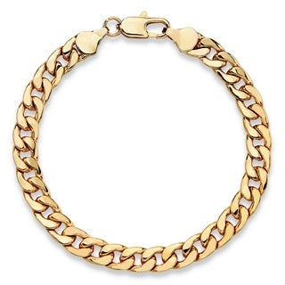 """PalmBeach Men's Classic 6.5 mm Curb-Link Bracelet Gold Ion-Plated 8"""""""""""
