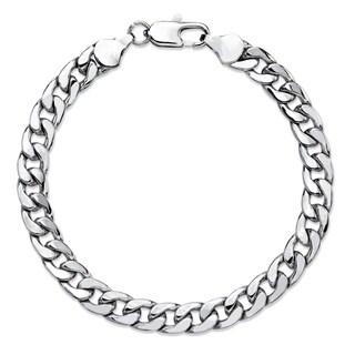 "PalmBeach Men's Classic 6.5 mm Curb-Link Bracelet Silvertone 8"""""