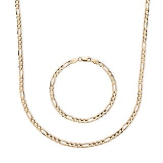 PalmBeach Men's Figaro-Link Two-Piece Chain and Bracelet Set in 14k Yellow Gold over Sterling Silver