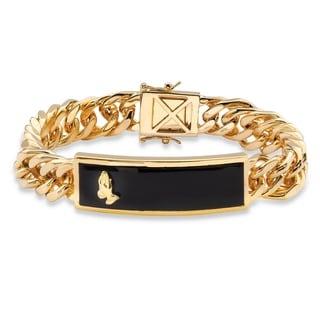 "PalmBeach Men's Genuine Black Onyx Praying Hands Cabochon Curb-Link Bracelet 14k Gold-Plated 8"""""