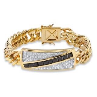"PalmBeach Men's 1.70 TCW Genuine Black Onyx and Cubic Zirconia Channel-Set Bracelet 14k Gold-Plated 8"""""