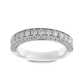 Azaro Jewelry 14k White Gold 1 1/10ct TDW Round Diamond 3-row Halfway Wedding Band (G-H, SI1-SI2)