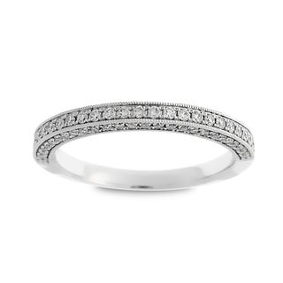 Azaro Jewelry 14k White Gold 2/5ct TDW Round Diamond 3-row Halfway Wedding Band (G-H, SI1-SI2)