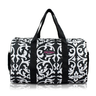 Jacki Design Chic Charm Black and White 18-inch Carry-on Duffel Bag
