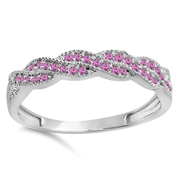 14-karat White Gold Pink Sapphire Ladies' Swirl Ring