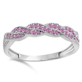 14-karat White Gold Pink Sapphire Ladies' Swirl Ring