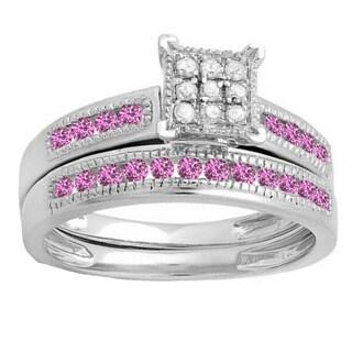 Sterling Silver 1/2k Round Pink Sapphire and White I-J I2-I3 Diamond Women's Bridal Engagement Ring Set