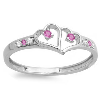 Ladie's Sterling Silver 1/6-carat Pink Sapphire and White Diamond Double-heart Promise Ring