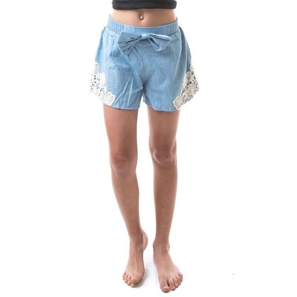 Soho Kids Powder Blue Cotton Soft Denim Shorts