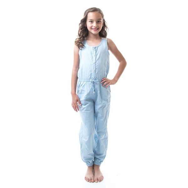 Soho Kids Girls Powder Blue Button Up Denim Crochet Jumpsuit