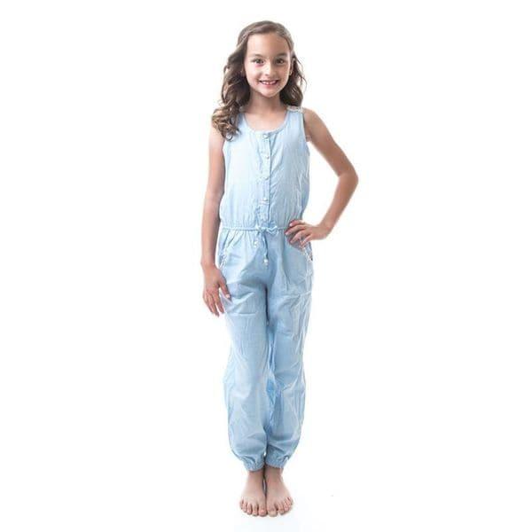 Soho Kids Girls Powder Blue Button Up Denim Crochet Jumpsuit