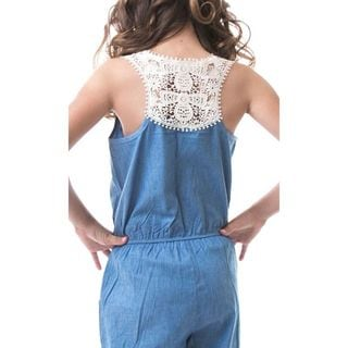Soho Kids Girls Medium Blue Button Up Denim Crochet Jumpsuit
