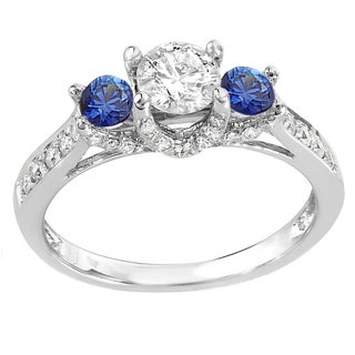 14k White Gold 1-carat Round White Diamond and Blue Sapphire 3-stone Ladies' Bridal Engagement Ring (H-I and Blue, I1-I2)