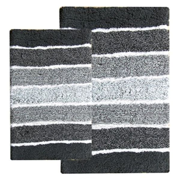 Cordural Mixed Black and Grey 2-piece Bath Rug Set