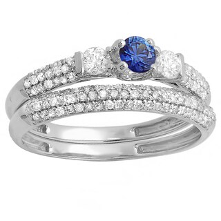 14k White Gold Blue Sapphire/White Diamond 3-stone Bridal Engagement Set (H-I and Blue, I1-I2)