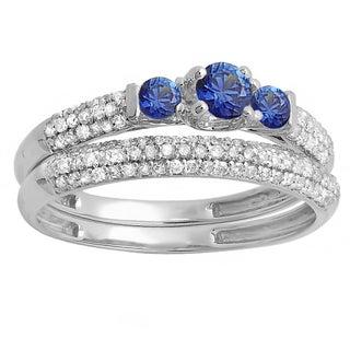 14k White Gold 7/8k Round Blue Sapphire and White H-I I1-I2 Diamond 3-stone Bridal Engagement Ring Wedding Band Set