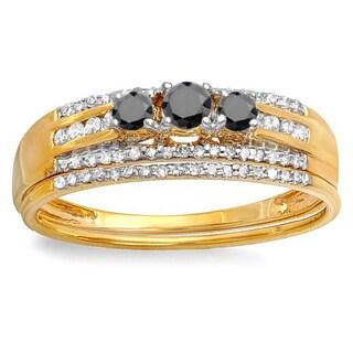 14k Yellow Gold 3/8ct TDW Round Black and White Diamond 3-stone Bridal Ring Engagement Set (H-I, I1-I2)