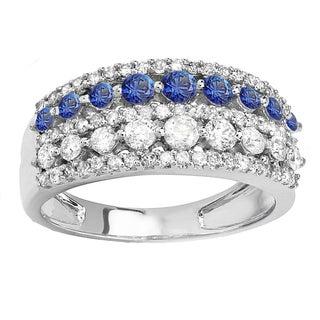 14k White Gold Round Blue Sapphire and White Diamond Women's Anniversary Wedding Band Ring