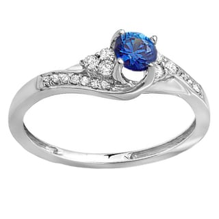 14k White Gold 3/8-carat Round White Diamond And Blue Sapphire Ladies Swirl Bridal Engagement Ring (H-I and Blue, I1-I2)