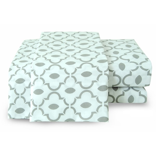 Cotton Printed Lattice Grey Sheet Set