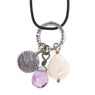 Handcrafted Sterling Silver Leather 'Inspiring Lotus' Cultured Pearl Amethyst Necklace (11 mm) (Indonesia)