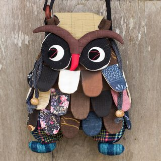 Handcrafted Cotton 'Friendly Owl' Shoulder Bag (Thailand)