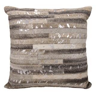 Michael Amini Metallic Thin Stripes Grey/ Silver Throw Pillow by Nourison (20 x 20-inch)