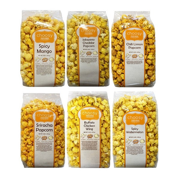 Choosy Chocolates Spice Lovers Popcorn Selection (Pack of 6)