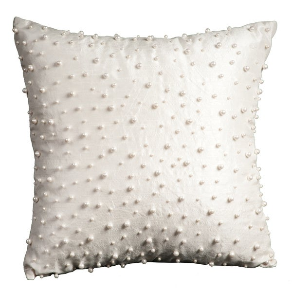 Mina Victory Luminescence Random Pearls Ivory Throw Pillow by Nourison (16 x 16-inch)