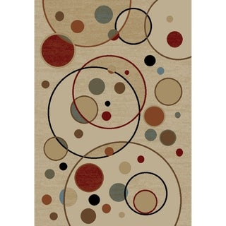 Jewel Balloons Ivory Polypropylene Machine-made Rug (6'7 x 9'3)