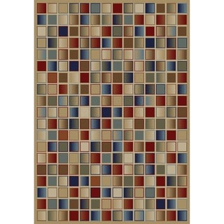 Jewel Checkerboard Goldtone Polypropylene/Olefin Machine-made Rug (6'7 x 9'3)