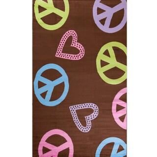 Machine-made Ingenue Collection Harmony Brown Polypropylene Rug (3'4 x 5')