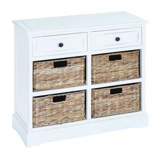 White Wood/Wicker Basket Cabinet With Fine Detailing