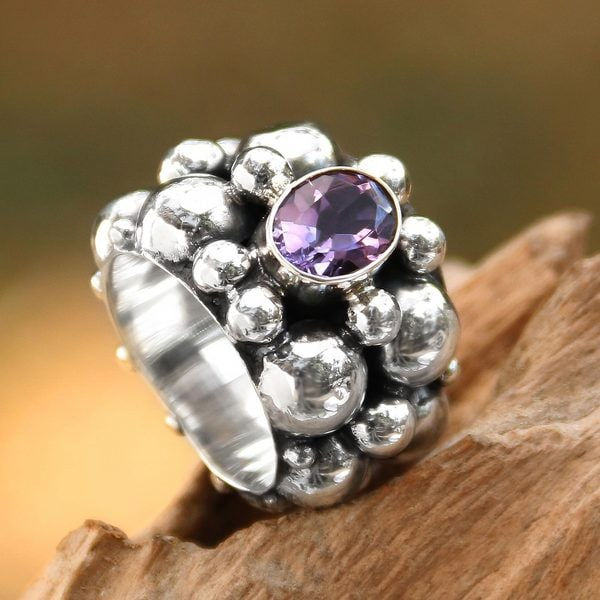 Handcrafted Sterling Silver 'Boiling Sea' Amethyst Ring (Indonesia)