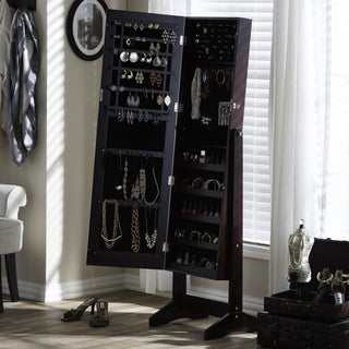 Baxton Studio Althaia Brown Finishing Wood Free Standing Cheval Mirror Jewelry Armoire